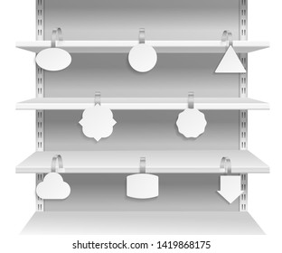 Wobbler shelves. Promotion advertising informing discount sale tags on supermarket shelf. Paper wobblers empty labels vector mockup set