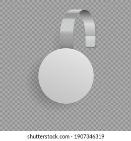Wobbler template. Blank round paper tag hanging on glued bended plastic stripe. 3D promotional sticker on transparent background. Discount or sale advertising banner mockup, vector label for showcase