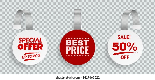 Wobblers for sale. Discount color sign for advertising design of strips hanging wobbler template in store vector price labels set for supermarket