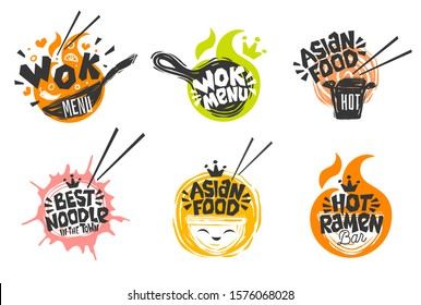 Wok asian food logo, Wok pan, plate, box, sticks, lettering, pepper, vegetables, Cook wok dish noodle ramen fire background logotype design. Hand drawn vector illustration.