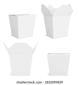 Wok box mockup, blank take away food container. Empty bag for chinese meal, noodles or fastfood front and corner view. Paper close and open realistic 3d vector mock up isolated on white background