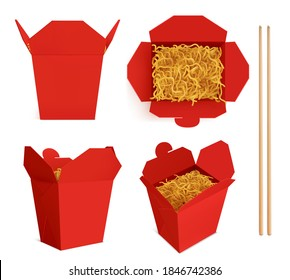 Wok box with noodles and sticks mockup, red take away food container, blank bag for chinese meal or fastfood top and front view. Paper open realistic 3d vector mock up isolated on white background