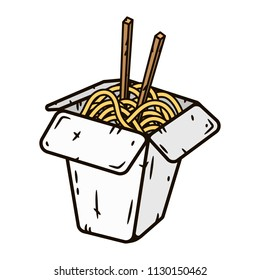 Wok box with noodles. Vector illustration isolated on white.