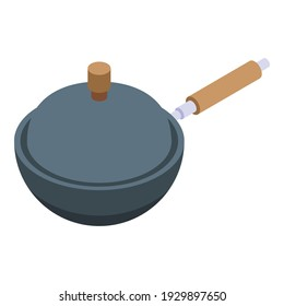 Wok frying pan icon. Isometric of wok frying pan vector icon for web design isolated on white background