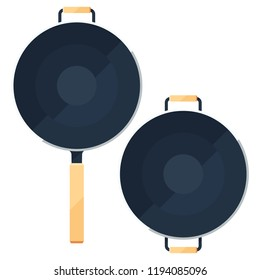 Wok frying pan sign collection or flat icons set of traditional bowls laying for top view