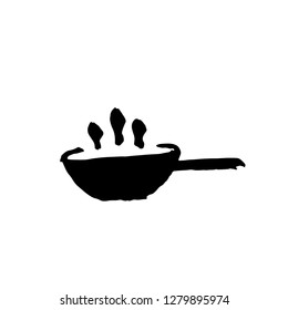Wok icon. Cauldron for pilaf. Grunge brush vector illustration.