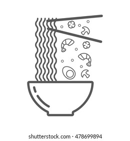 Wok illustration. Bowl of noodles with a pair of chopsticks, egg, mushroom, papper and shrimp icon thin line for web and mobile, modern minimalistic flat design. illustration for restaurant hand drawn