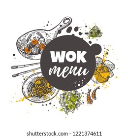 Wok menu. Chinese food concept design. Sweet and sour. Asian oriental food. Hand drawn vector illustration. Can be used for cafe, market, shop, barbeque, bar, restaurant, poster, label, sticker, logo.