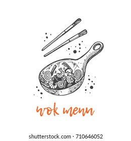 Wok menu concept design. Asian food. Chinese cuisine. Hand drawn vector illustration. Can be used for street festival, farmers market, menu, cafe, restaurant, poster, banner, logo, sticker.