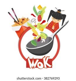 wok, noodles in a box, food packaging, vegetables, vector illustration
