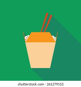 wok noodles icon with long shadow. flat style vector illustration