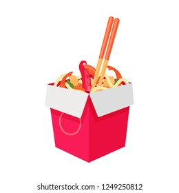 Wok with noodles and seafood. Open box Bamboo sticks inside. Healthy diet food. Seafood dishes. Traditional Asian cuisine. Flat cartoon vector illustration isolated.