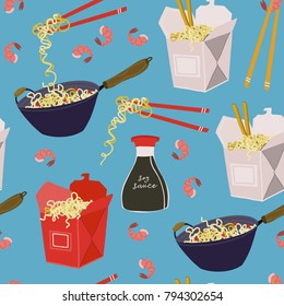 Wok noodles, take away boxes and various ingredients. Hand drawn vector seamless pattern. Blue background