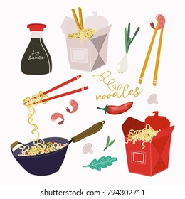 Wok noodles, take away boxes and various ingredients. Hand drawn vector set. All elements are isolated