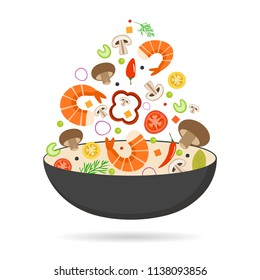 Wok pan, tomato, paprika, pepper, mushroom, shrimp. Asian food. Flying vegetables with seafood. Flat vector illustration