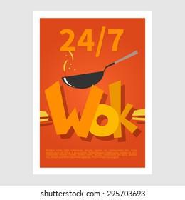 Wok poster. Template poster of  wok restaurant. Flat style illustration
