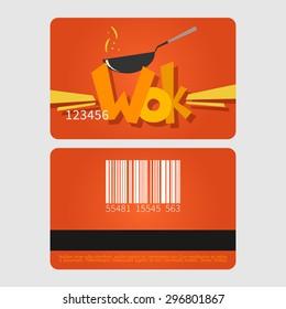 Wok restaurant. Template loyalty card design. Flat style vector illustration.