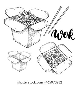 Wok vector drawing with lettering. Isolated chinese box and chopsticks  with noodles and vegetables. Hand drawn detailed fast asian food illustration. Great for banner, poster, sign