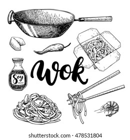 Wok vector drawing with lettering. Isolated chinese box and chopsticks  with noodles, vegetables and soy sauce. Hand drawn detailed fast asian food illustration. Great for banner, poster, menu decor