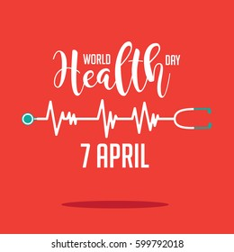 Wold Health Day heartbeat and stethoscope design. In celebration of World Health Day. EPS 10 vector.