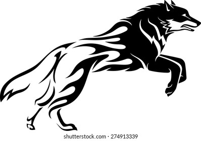 Wolf Abstract Flame Tattoo
