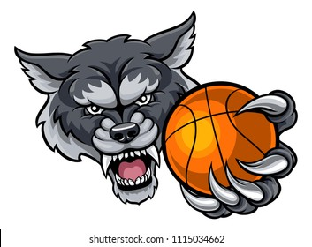 A wolf angry animal sports mascot holding a basketball ball