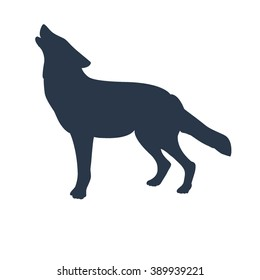Wolf. Animal. Black silhouette of wolf. Silhouette of a howling wolf or a dog barking, isolated object. Vector