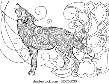 Wolf Animal Coloring With A Book For Adults Vector
