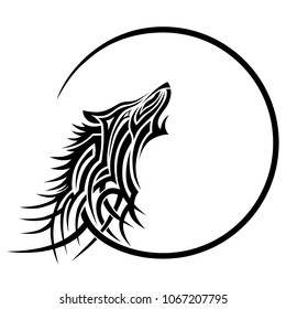wolf  art tattoo tribal, lobo vector design sketch - simple logo howling wolf moon on a white background.