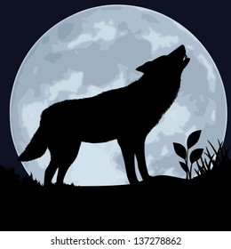 Wolf. The black silhouette of a wolf on a background of the moon. The wolf howls. Vector illustration.