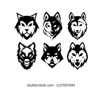Wolf bolt Emblem, mascot head silhouette, sport logotype. Template for business or t-shirt design. Vector