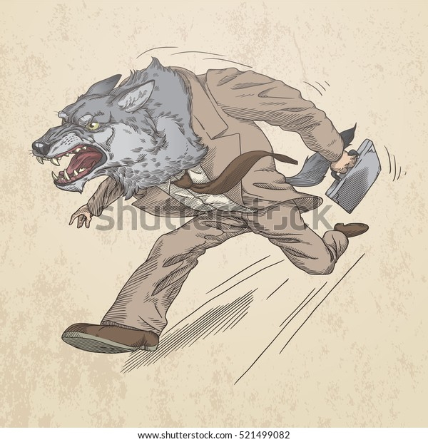 Wolf as a businessman and an office worker in the financial sector, in sepia