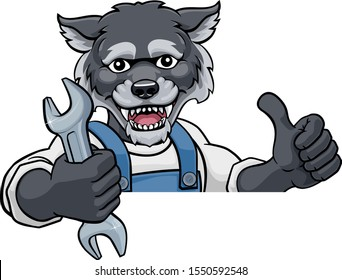 A wolf cartoon animal mascot plumber, mechanic or handyman builder construction maintenance contractor peeking around a sign holding a spanner or wrench and giving a thumbs up
