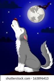 Wolf cartoon howling