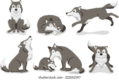 Wolf cartoon illustration set