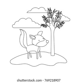 wolf cartoon in outdoor scene with trees and clouds in monochrome silhouette