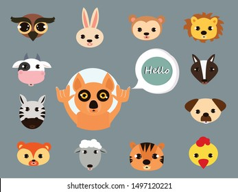 wolf cartoon say hello concept . Flat vector illustration for web page.