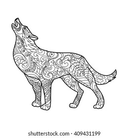 Wolf Coloring Book For Adults Vector Illustration Anti Stress Adult Zentangle