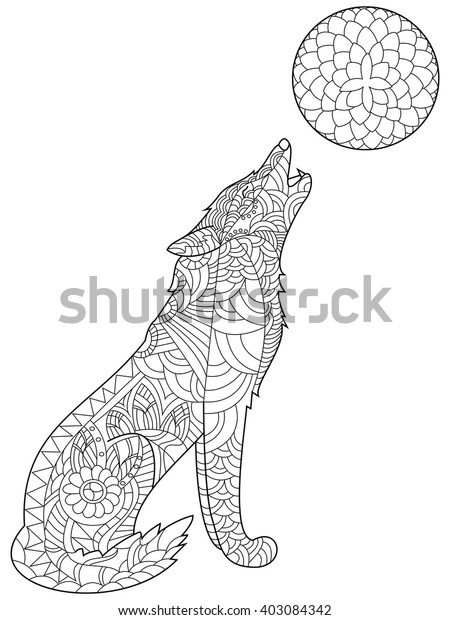 Wolf Coloring Book Adults Vector Illustration Stock Vector ...