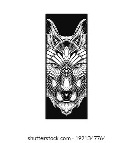 wolf contour ornamental illustration tattoo style and tshirt design