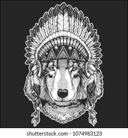 Wolf Dog Cool animal wearing native american indian headdress with feathers Boho chic style Hand drawn image for tattoo, emblem, badge, logo, patch