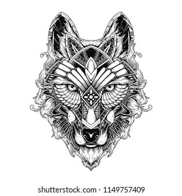 wolf doodle ornament