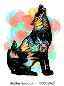 Wolf double exposure color tattoo art. Symbol tourism, travel, adventure, outdoor water color splashes
