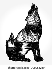 Wolf double exposure tattoo and t-shirt design. Symbol tourism, travel, adventure, outdoor
