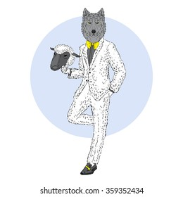 wolf dressed up in ship suit, furry art illustration