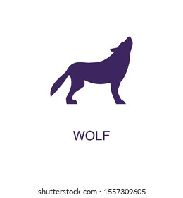 Wolf element in flat simple style on white background. Wolf icon, with text name concept template