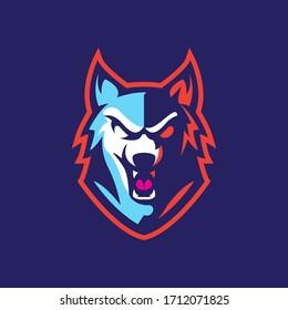 Wolf esport character mascot logo design vector template