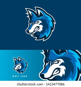 Wolf esport gaming mascot logo template, suitable for your team, business, and personal branding