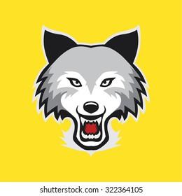 wolf face husky face cartoon animal vector
