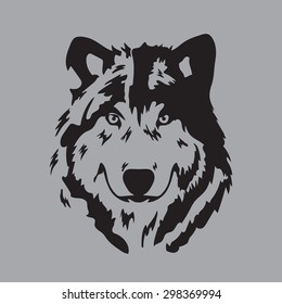 wolf face on gray background